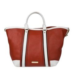 @Overstock.com.com - This bright, red leather tote bag by Burberry features modern white and black color block trim. Double top handles and gold-tone hardware finish the unique look of this designer tote bag. http://www.overstock.com/Clothing-Shoes/Burberry-Large-Red-Leather-Tote/6569804/product.html?CID=214117 $999.99
