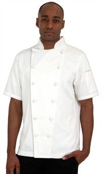 Traditional Fit Short Sleeve Chef Coat - Knotted Cloth Buttons - 100% Cotton