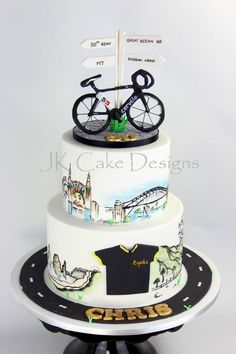 Mountain bike hand painted cake Bicycle Cake, Bike Cakes, Bicycle Party, Themed Birthday Cakes, Themed Cakes, Mountain Bike Cake, Dad Cake, Hand Painted Cakes, Biscuit Cake