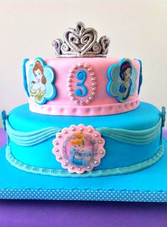 Disney Princess Cake Birthday Cake Girls, Birthday Cakes, Summer Birthday, 4th Birthday, Birthday Ideas, Princess Tea Party, Princess Cakes, Princess Tiara, Disney Princess