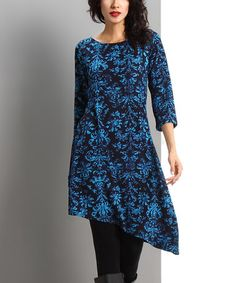 Another great find on #zulily! Blue Damask Asymmetrical-Hem Dress #zulilyfinds