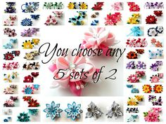 Kanzashi fabric flowers. You choose any 5 sets of 2. by JuLVa