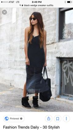 Isabel Marant sneakers fashion dress up in thin legs - Mode - Wedges Outfit, Isabel Marant, Dress Outfits, Fashion Dresses, Dress Up, Dress Boots, Tank Dress, Girl Outfits, Uk Street Style