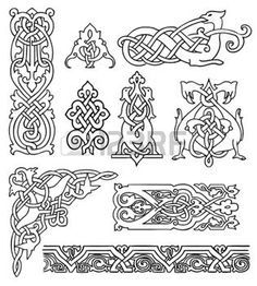 keltische muster: antikes alte russische Ornamente Vektor-Satz celtic pattern: antique old russian ornaments vector set Arte Viking, Viking Art, Viking Symbols, Mayan Symbols, Egyptian Symbols, Viking Runes, Ancient Symbols, Viking Knotwork, Celtic Patterns