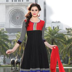 Black Cotton Readymade Anarkali Kameez with Legging