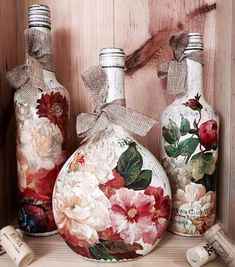 Decorative Bottles :     Decoupage bottles Más    -Read More –