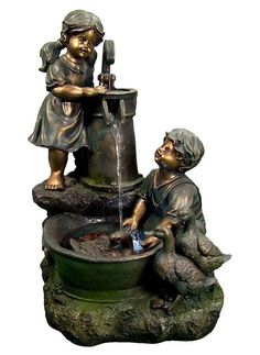 #Water #Pump #Fountain LED #Lights #Outdoor #Garden #Fixture #Country #Children #Ducks New