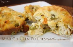 Mini chicken pot pies. Easy, simple, tasty and toddler approved! Plus it is a great freezer meal!