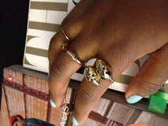 Wrap skull ring. Double spike ring add a little edge to your garment.