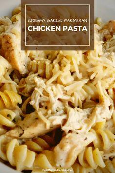 Best & healthy recipes of Instant Pot Creamy Garlic Parmesan Chicken Pasta Easy Healthy Pasta Recipes, Pasta Recipes For Kids, Creamy Pasta Recipes, Healthy Chicken Pasta, Vegetarian Pasta Recipes, Garlic Chicken Recipes, Pasta Dinner Recipes, Yummy Pasta Recipes, Chicken Tortellini