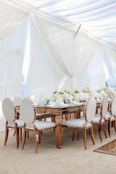 Rose gold wedding table decor: Photography : Simone And Martin Photography Read More on SMP: http://www.stylemepretty.com/2016/09/06/mindy-weiss-book-giveaway/