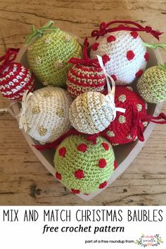 Get the free crochet pattern for these crochet mix and match bauble ornaments from the Crochet Club featured in my crochet christmas party FREE pattern roundup!