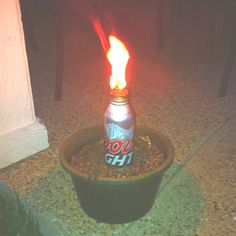 Home made mosquito repellent! The holder is a coors light can of course! Made by dianne dillard! Home Made Mosquito Repellent, Dream Bars, Tiki Torches, 4th Of July Decorations, Coors Light, House Party, Cold Drinks, Summer Vibes, Man Cave