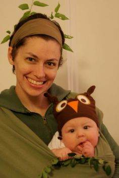 """Halloween Babywearing Costume Idea - Baby Owl in a """"tree"""" - wear all green on top, brown on bottom, make owl beanie and voila, you've got a costume. #Halloween #BabyCostume #Babywearing"""