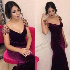 Beautiful Evening Gowns, Beautiful Dresses, Evening Dresses, Simple Dresses, Elegant Dresses, Formal Dresses, Velvet Fashion, Caftan Dress, Oriental Fashion