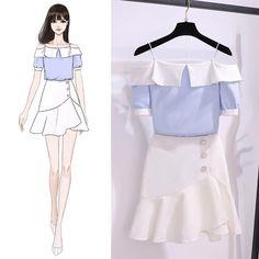 Fashion Drawing Dresses, Fashion Illustration Dresses, Korean Fashion Dress, Kpop Fashion Outfits, Girls Fashion Clothes, Drawing Fashion, Korean Skirt Outfits, Kpop Clothes, Kawaii Fashion