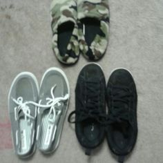 Kid's shoe bundle - 3 pairs for  $10! AE loafers - 7.5, Op sneakers - 7.5, Old Navy slippers - xl various  Shoes