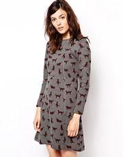Orla Kiely Sweatshirt Dress in Puppy Love Print