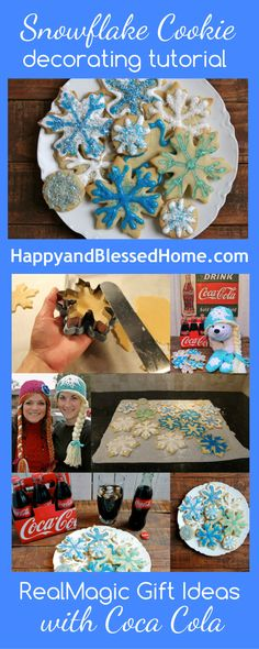 Snowflake Cookie tutorial includes step by step directions to get inspired and create RealMagic this holiday with Coca Cola and friends. From HappyandBlessedHome.com #RealMagic, #ad, #CookieRecipe #CookieDecorating #ChristmasGifts