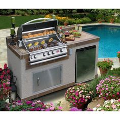 This barbecue island includes a 60,000 BTU 4-Burner Stainless Steel Gas Barbecue Grill, stainless steel door, 4.6 cu. ft. Built-In Stainless Steel BBQ Refrigerator, electrical outlet and umbrella hole, making it a great fit for your backyard lifestyle.
