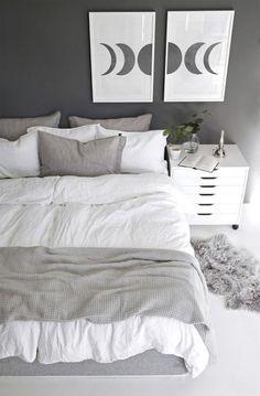 Black White And Grey Bedroom, Light Gray Bedroom, Gray Bedroom Walls, Grey Bedroom Decor, Grey Room, Room Ideas Bedroom, White Rooms, White And Gray Bedding, White Apartment