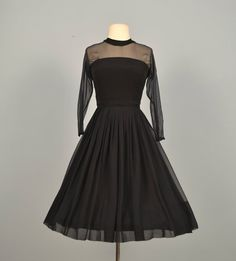 Vintage 1960s Cocktail Dress...Midnight Black Chiffon by deomas, $155.00