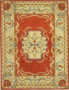 Red 9' 10 x 13' 1 Classic Aubusson Rug | Area Rugs | eSaleRugs