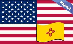 5x3 America and New Mexico Flag Magnet Vinyl Magnetic State Flag Decal