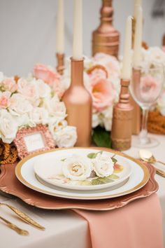 48 Glamorous Wedding Decorations Rose Gold Ideas with We as a whole will in general feel that pink shades are gracious so-girlie. Be that as it may, envision a lovely blast of stylish and marvelous rose g. Gold Wedding Colors, Wedding Reception Flowers, Wedding Ideas, Wedding Details, Wedding Dresses, Rose Gold Table, Rose Gold Decor, Gold Party Decorations, Blush And Gold