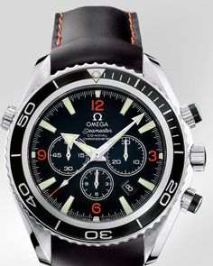 OMEGA Watches: Seamaster Planet Ocean Chrono - Steel on rubber strap.