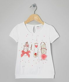 http://www.zulily.com/invite/vhanson979 Take a look at this White Shoes Bow Tee - Infant, Toddler & Girls by Best Frendz on #zulily today!