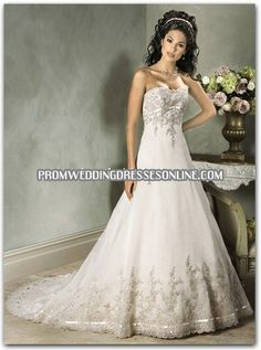 A-Line/Princess Sweetheart Chapel Train Satin Tulle Wedding Dresses With Lace Beadwork Organza Bridal, Wedding Dress Organza, Maggie Sottero Wedding Dresses, Used Wedding Dresses, Wedding Dress Styles, Designer Wedding Dresses, Bridal Dresses, Wedding Gowns, Lace Dress