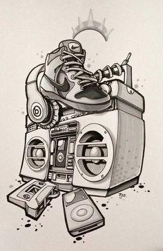 Music Tattoo Ideas   Boombox   Stereo   Ipod   Cassette Tape  Headphones   Nikes   Art   Wall Art   Prints   Decor