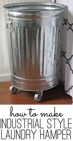 DIY industrial style laundry hamper - with a bit of antiquing done to it!