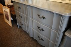 I have this exact dresser....Gray French Provincial Dresser just might need to be the next paint color :)
