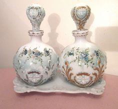pair vintage ornate milk glass cologne barber scent vanity perfume bottle tray