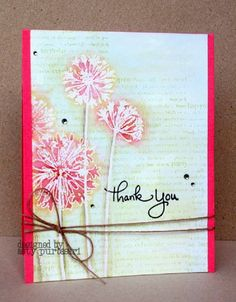 embossed flowers on text background, twine