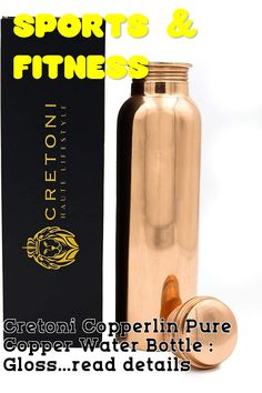 Cretoni Copperlin Pure Copper Water Bottle : Glossy Smooth Seemless Leak Proof Design : Perfect Ayurvedic Copper Vessel for Sports, Fitness, Yoga, Natural Health Benefits (900 Milliliter/30 Ounce) ... (This is an affiliate link) #fitnessaccessories