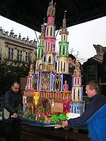 Polish nativity scene (szopka) in the Main Market Square, Krakow,Poland.