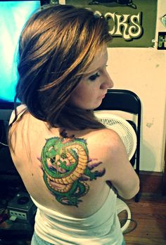 Really great back piece. Shenron from Dragon Ball Z. I really love these tattoos from childhood shows of mine.