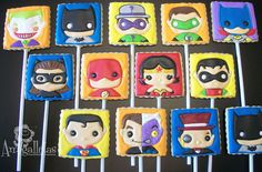 DC Super Heroespop Cookies by Amigalletas on Etsy, $35.99  She also makes Sesame Street cookies!