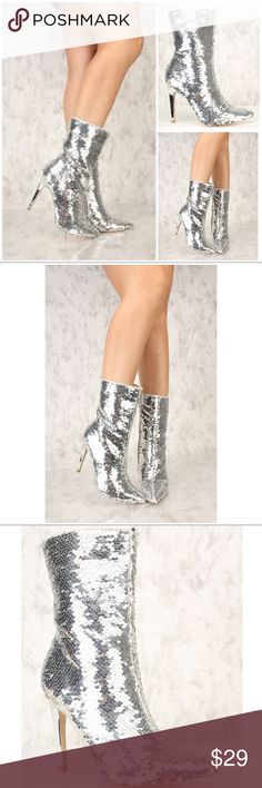 "Silver Sequins Pointy Close Toe Mid-Calf Boots NWB Silver Sequins Pointy Close Toe Mid-Calf Boots  These booties will take your outfit to a whole new level.   Silver sequins, pointy close toe, inner zipper closure, followed by a cushion foot-bed.   Approximately 4"" heel  New With Box Shoes Ankle Boots & Booties"
