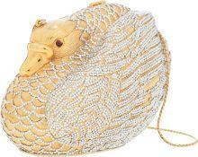 Luxury Accessories:Bags, Judith Leiber Half Bead Gold & Silver Crystal Swan MinaudiereEvening Bag. ...