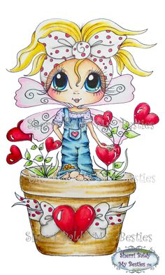 Your place to buy and sell all things handmade Adult Coloring Pages, Coloring Books, Big Eyes Artist, Art Mignon, Line Art Images, Cute Love Stories, Cute Drawings, Drawings Of Hearts, Digi Stamps