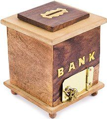 Rusticity Wooden Coin Bank - 6 in x 5 in - Donation Stand Piggy Bank for money…
