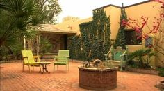 The patio at Hacienda Corona de Guevavi, a bed-and-breakfast on a historical ranch property in southern Arizona.