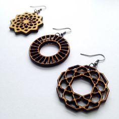 Triple Wood Earring Set - Wooden Earrings, Mandala Earrings, Hoop Earrings…