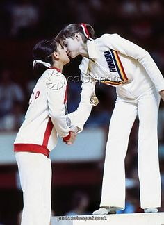 Nadia Comaneci (Romania) & Nellie Kim  (USSR) at the 1976 Montreal Olympics