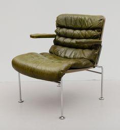 Bruno Mathsson; Chromed Metal and Leather 'Birgitta' Armchair for Dux, c1970.