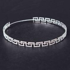 2017 Rhinestone New Greek Key Full Circle Round Crown Bridal Jewelry Accessory Tiara Headband